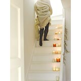 Woman walking up stairs 