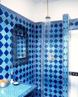 Quirky bathroom with blue tiled walls and open shower