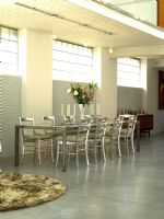 Contemporary dining room with concrete floor