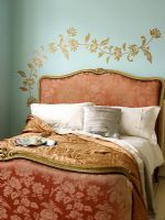 Classic bedroom with paint effect on wall
