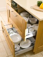 Open kitchen drawer showing storage solution