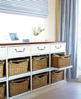 Chest of drawers with wicker baskets
