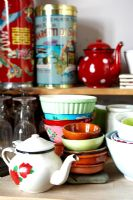 Detail of colourful crockery