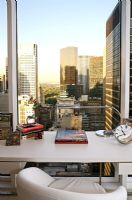 Modern home office with view across New York