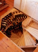 Spiral stairs leading to wine cellar
