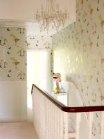 Patterned wallpaper used on stair well