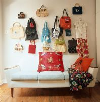 Collection of bags on a wall