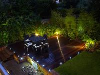 Modern garden at night