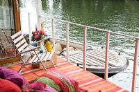 Modern balcony on houseboat