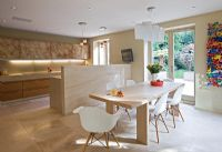 Modern open plan kitchen and dining room
