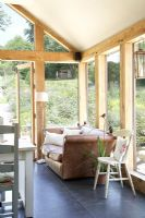 Wooden framed conservatory living area