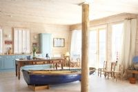 Boat in beach house kitchen