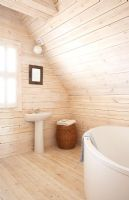 Modern bathroom in wooden beach house