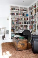 Modern living room with large bookcases