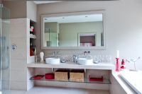 Large bathroom with twin sinks