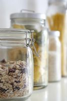 Food in kilner storage jars, detail