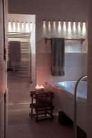 Modern bathroom with ambient lighting