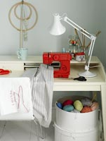 Needlework equipment in home office