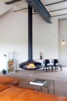 Contemporary room with feature fireplace