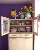 Retro wooden cabinet used to store crockery