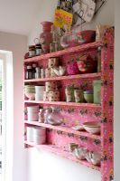 Floral pink shelves in kitchen