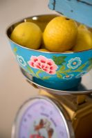 Floral fruit bowl on vintage scales