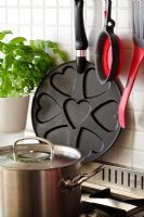 Frying pan with heart shapes