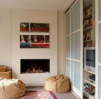 Hidden storage and fireplace