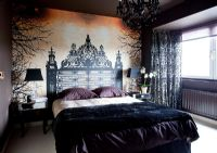 Modern bedroom with mural feature wall
