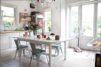 Modern kitchen diner decorated for Christmas