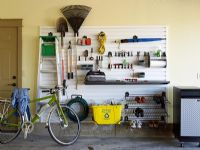 Bicycle and tools in garage
