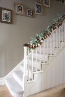 Classic staircase decorated for Christmas