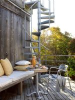 Spiral staircase to outdoor living area