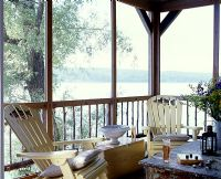 Garden furniture on country balcony