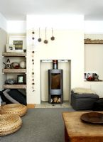 Country living room with wood burning stove
