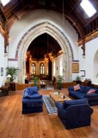 Open plan living room of converted church