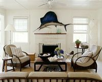 Country living room with wall mounted swordfish