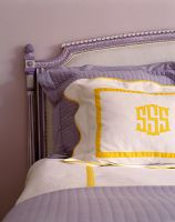 Lilac and yellow bedding