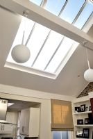 Large skylight in modern living room
