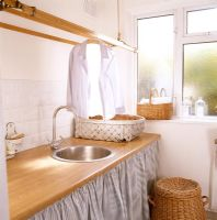 Sink and drying rack in utility room