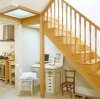 Study area under wooden staircase