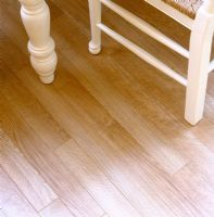 Detail of laminate flooring in dining room