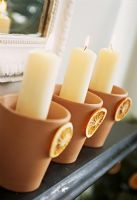Decorative terracotta candle holders