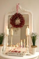 Console table decorated for Christmas