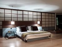 Modern bedroom with Japanese style screen wall
