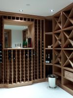 Wooden shelves and racks in wine cellar