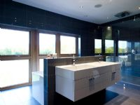 Twin sinks in contemporary bathroom