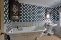 Classic bathroom with patterned wallpaper