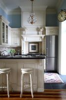 Bar stools in classic kitchen