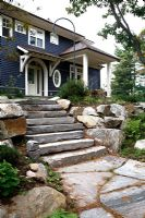 Stone path and steps to country house